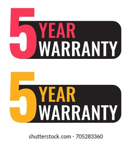 Five year warranty. Vector badge illustration on white background.