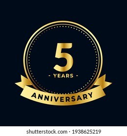 Five Years Anniversary Celebration Gold and Black Isolated Vector