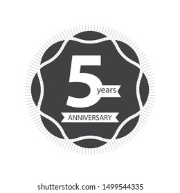 five years anniversary celebration logotype gray and white colored