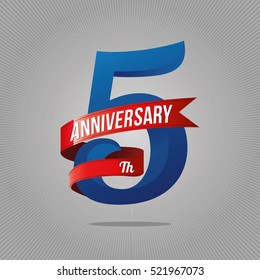 Five years anniversary celebration logotype. 5th anniversary logo, gray background