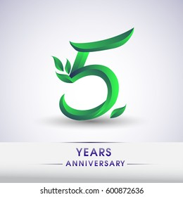 five years anniversary celebration logotype with leaf and green colored. 5th birthday logo on white background.