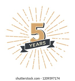 Five years anniversary retro vector emblem isolated template. Vintage logo fifth 5th years with ribbon and fireworks on white background