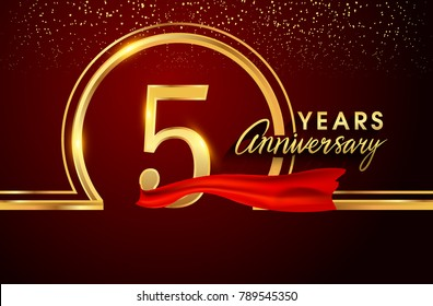 five years birthday celebration logotype. 5th anniversary logo with confetti and golden ring, red ribbon isolated on red background, vector design for greeting card and invitation card.