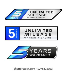 Five Years Unlimited Mileage Warranty golden and silver badge isolated on white background - Vector