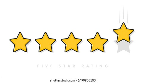 Five yellow rating star vector illustration in white background. 5 star rating customer product review flat icons for apps and websites.
