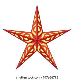 Five-beam volumetric star. Isolated red color vector on white background. Festive decoration for shop windows and houses.
