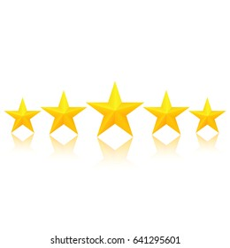 Fivegolden stars with reflection. Excellent quality rating. Vector, isolated, eps10.
