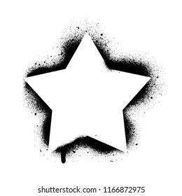 Five-point star stencil template. Spray graffiti texture.