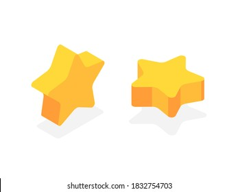Five-pointed gold star.  Flat 3d vector isometric illustration isolated on white background.