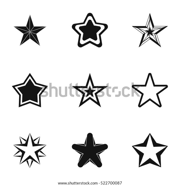 Five-pointed star icons set. Simple illustration of 9 five-pointed star vector icons for web