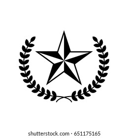 Five-pointed star vector icon with laurel wreath. Black star on white background.