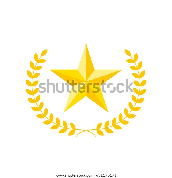 Five-pointed star vector icon with laurel wreath. Modern flat golden star illustration.