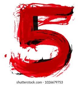 Five.Vector brush paint lettering.