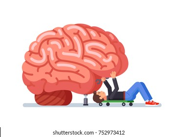 Fix the brain. Memory problem. Mechanic repairs. Restore thoughts. Modern flat style thin line vector illustration isolated on white background.