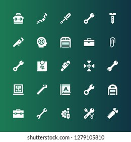 fix icon set. Collection of 25 filled fix icons included Screw, Wrench, Screwdriver, Toolbox, Garage, Maintenance, Window, Cross wrench, Push pin, Clip, Fixed, Ratchet