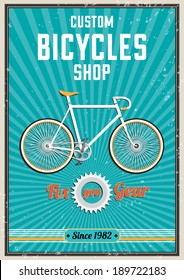 Fixed bicycle retro poster design.Vector Illustration.
