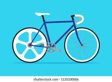 Fixed gear bicycle, Fixie bike, Simple flat design isolated on blue background, Vector illustration