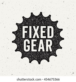 Fixed gear logo, sign. Bicycle sprocket. Ink stamp style.
