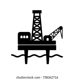 Fixed offshore platform, used for oil and gas drilling and production. Black flat vector icon for petroleum industry