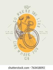 Fixie city bicycle t-shirt print. Go where you like - like where you go.