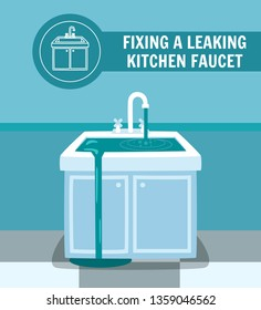 Fixing Leaking Kitchen Faucet Banner. Water Overflow Washstand Sink Vector Illustration. Emergency Plumbing Service Professional Plumber Handyman Leakage Repair Drain Problem Solve