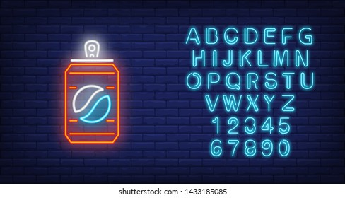 Fizzy drink in can neon sign. Glowing illustration of  fizzy drink in can on dark blue brick background. Can be used for cafe, store, supermarket, night shop, advertisement