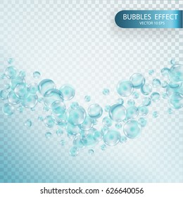 Fizzy sparkles in aquarium, champagne, soda drink. Soap bubbles with reflex and reflection, realistic vector effect