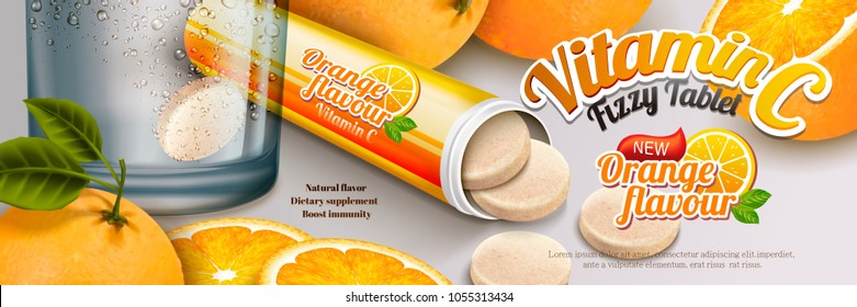 Fizzy tablet ads, healthy orange flavour supplement with rich vitamin C in 3d illustration