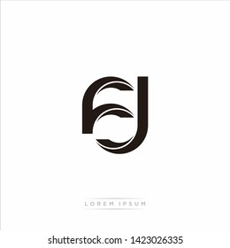 fj f j Initial Letter Split Lowercase Modern Monogram linked outline rounded logo