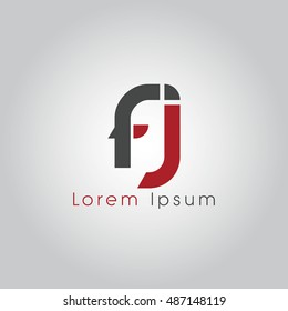 fj initial letter linked lowercase logo. f and j vector template design.