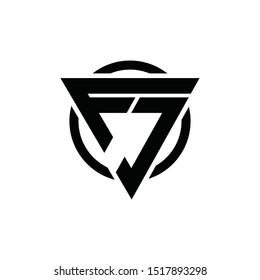 FJ, JF Triangle Logo Circle Monogram Design Vector Super Hero Concept