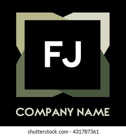 FJ letters business logo creative  icon design template elements in abstract background logo, design identity in square with four colors, modern alphabet letters