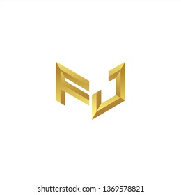 FJ Logo letter initial 3d designs templete with gold colors