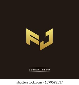 FJ Logo Letter Initial Logo Designs Templete with Gold and Black Background