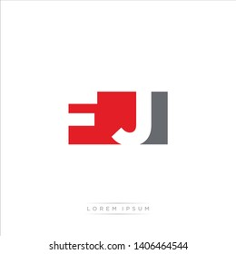 FJ Logo Letter with Modern Negative space - Red and Grey Color EPS 10