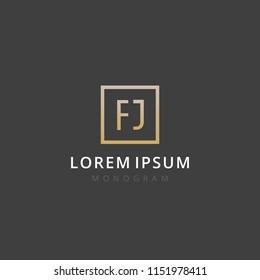 FJ. Monogram of Two letters F & J. Luxury, simple, stylish and elegant FJ logo design. Vector illustration template.