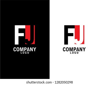 fj/jf Initial abstract company Logo Design with negative space. company logo template vector