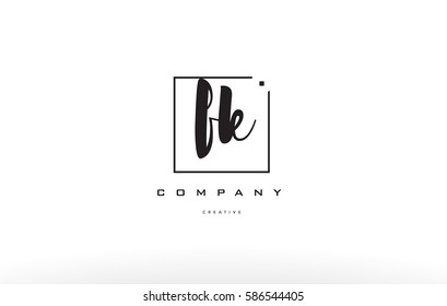 fk f k hand writing written black white alphabet company letter logo square background small lowercase design creative vector icon template