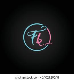 FK or F K letter alphabet logo design in vector format.