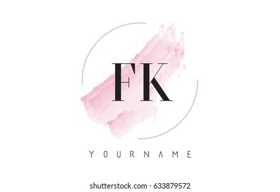 FK F K Watercolor Letter Logo Design with Circular Shape and Pastel Pink Brush.