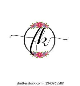 FK  Initial Handwriting logo template vector