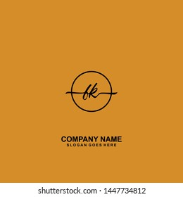 FK Initial handwriting logo template vector