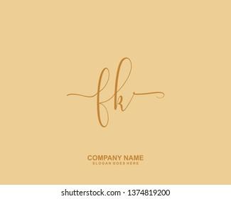 FK Initial Handwriting Logo Vector
