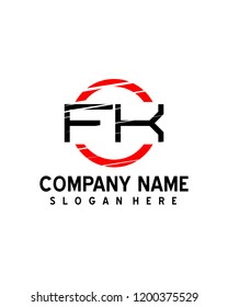 FK Initial logo with circle template vector