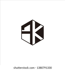 FK Logo Initial Monogram Negative Space Designs Modern Templete with Black color and White Background