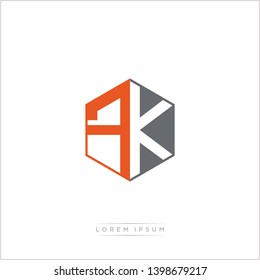 FK Logo Initial Monogram Negative Space Design Template With Orange and Grey Color - Vector EPS 10