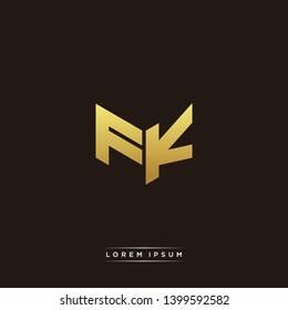 FK Logo Letter Initial Logo Designs Templete with Gold and Black Background