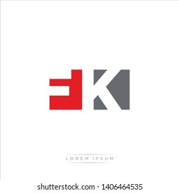 FK Logo Letter with Modern Negative space - Red and Grey Color EPS 10