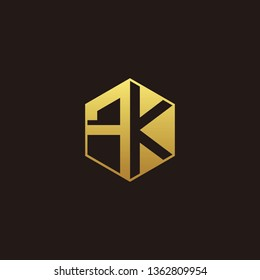 FK Logo Monogram with Negative space gold colors