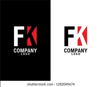 fk/kf Initial abstract company Logo Design with negative space. company logo template vector